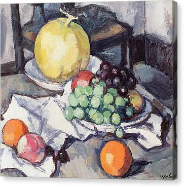 Still Life With Melons And Grapes Canvas Print by Samuel John Peploe