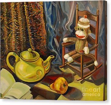 Still Life With Sock Monkey Canvas Print by Talia Prilutsky