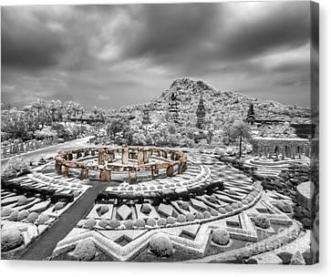 Stone Garden And Thai Lanna Pavilion Canvas Print by Anek Suwannaphoom