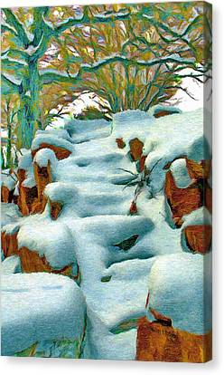 Stone Steps In Winter Canvas Print by Jeff Kolker
