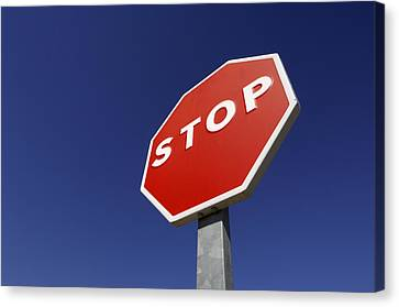 'stop' Road Sign Canvas Print by Martin Ruegner