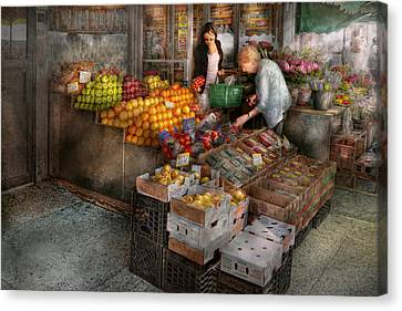 Storefront - Hoboken Nj - Picking Out Fresh Fruit Canvas Print by Mike Savad