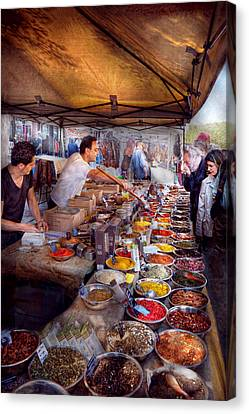 Storefront - The Open Air Tea And Spice Market  Canvas Print by Mike Savad