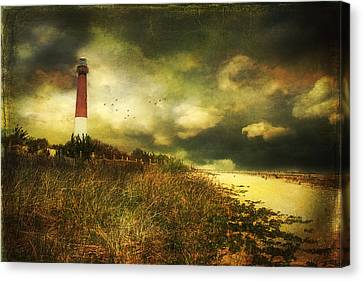Storm At Barnegat Lighthouse Canvas Print by John Rivera