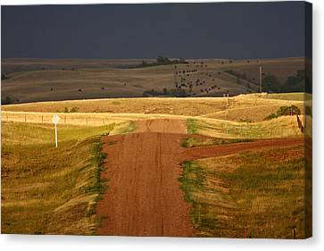 Storm Clouds In Saskatchewan Canvas Print by Mark Duffy