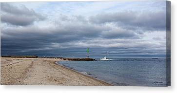 Stormy Evening Bass River Jetty Cape Cod Canvas Print by Michelle Wiarda