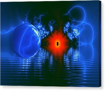Strange Lights On The Lake Canvas Print by Pam Blackstone