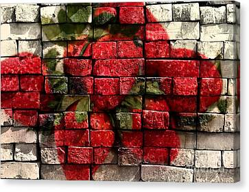 Strawberries On Bricks Canvas Print by Barbara Griffin