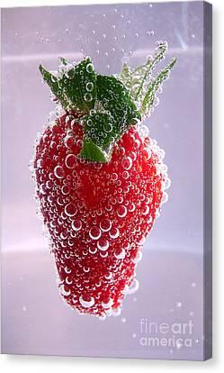 Strawberry In Soda Canvas Print by Soultana Koleska