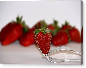 Strawberry On Spoon Canvas Print by Soultana Koleska