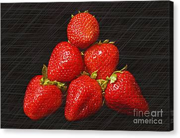 Strawberry Pyramid On Black Canvas Print by Andee Design