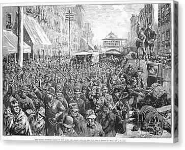 Street Car Strike, 1886 Canvas Print by Granger