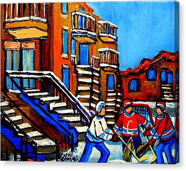 Street Hockey Near Staircases Montreal Winter Scene Canvas Print by Carole Spandau