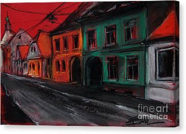 Street In Transylvania 1 Canvas Print by Mona Edulesco