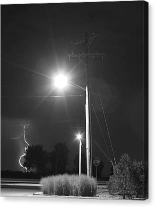 Street Light  Lightning In Black And White Canvas Print by James BO  Insogna