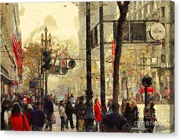 Street Scene At Market Street In San Francisco California . 7d4268 Canvas Print by Wingsdomain Art and Photography