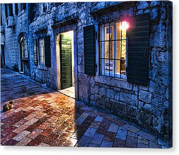 Street Scene In Ancient Kotor Montenegro Canvas Print by David Smith
