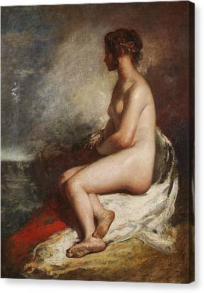 Study Of A Seated Nude Canvas Print by William Etty