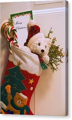 Stuffed Christmas Stocking Canvas Print by Carson Ganci