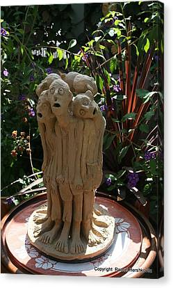 Suffering Circle Ceramic Sculpture Brown Clay  Canvas Print by Rachel Hershkovitz