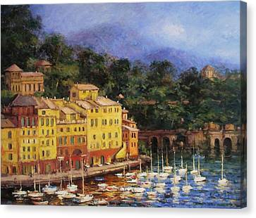 Summer Afternoon In Portofino Canvas Print by R W Goetting