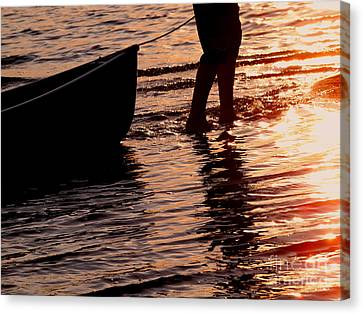 Summer Days - Canoeing At Sunset Canvas Print by Angie Rea