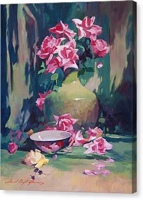 Summer Rose Arrangement Canvas Print by David Lloyd Glover