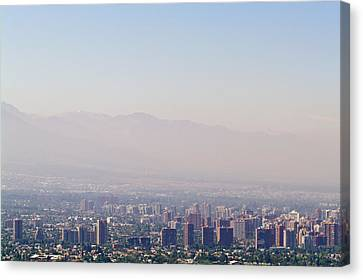 Summer Smog And Pollution In Santiagos Canvas Print by Jason Edwards