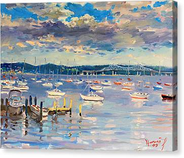 Sun And Clouds In Hudson Canvas Print by Ylli Haruni