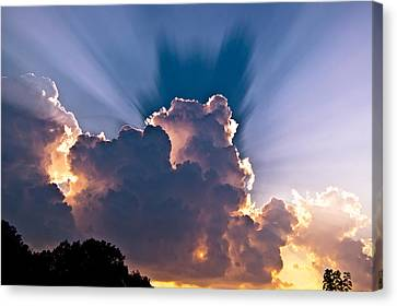 Sun Rays And Clouds Canvas Print by Amber Flowers