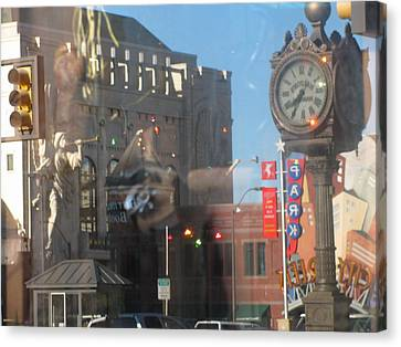 Sundance Square Reflection  Canvas Print by Shawn Hughes