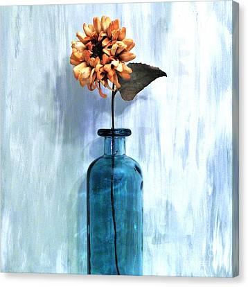Sunflower In A Beach Bottle Canvas Print by Marsha Heiken