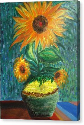Sunflower In A Vase Canvas Print by Prasenjit Dhar