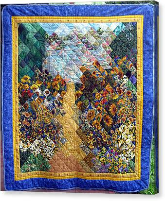 Sunflower Path Quilt Canvas Print by Sarah Hornsby
