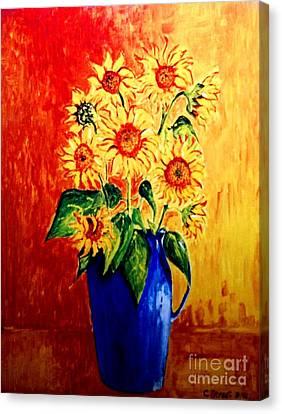 Sunflowers In Blue Vase Canvas Print by Caroline Street