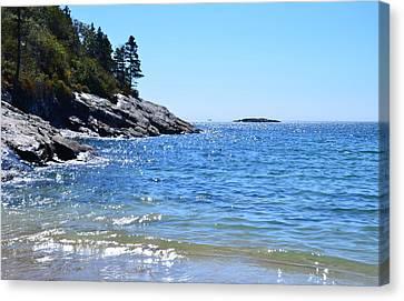 Sunlight Reflections Along Sand Beach Acadia Park Maine Canvas Print by Martin Rogers