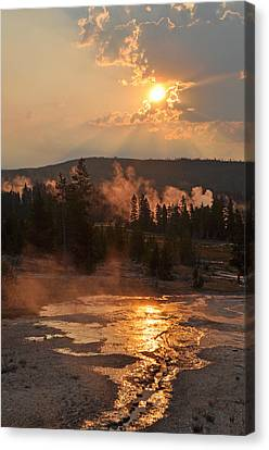 Sunrise Near Yellowstone's Punch Bowl Spring Canvas Print by Bruce Gourley
