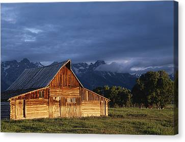 Sunrise On Old Wooden Barn On Farm Canvas Print by Axiom Photographic