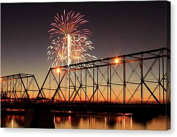 Sunset And Fireworks Canvas Print by Deborah  Crew-Johnson
