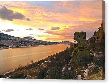 Sunset At Horsetooth Dam Co. Canvas Print by James Steele