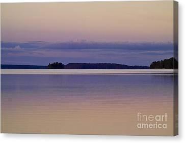 Sunset At Lake Muojaervi Canvas Print by Heiko Koehrer-Wagner