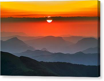 Sunset In Balkans Canvas Print by Evgeni Dinev
