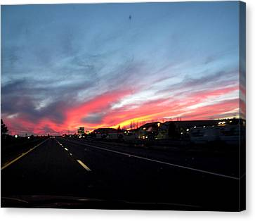 Sunset On Route 66 Canvas Print by Kathy Corday