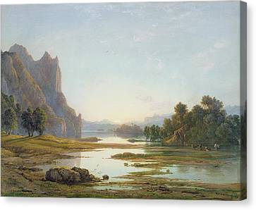 Sunset Over A River Landscape Canvas Print by Francis Danby