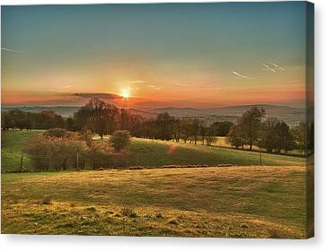 Sunset Over Countryside Canvas Print by Verity E. Milligan