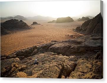 Sunset Over Jordan Wadi Rum Rock Canvas Print by Jason Jones Travel Photography