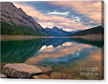 Sunset Over Medicine Lake Canvas Print by James Steinberg and Photo Researchers