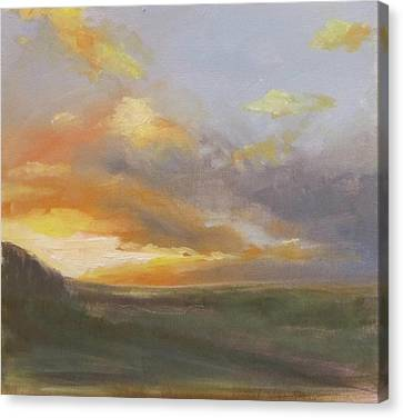 Sunset Over The Valley Canvas Print by Podi Lawrence