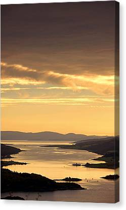 Sunset Over Water, Argyll And Bute Canvas Print by John Short