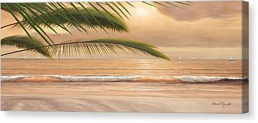 Sunset Surf Panoramic Canvas Print by Diane Romanello